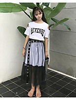 Women's Going out Casual/Daily Simple Summer T-shirt Skirt Suits,Quotes & Sayings Round Neck Short Sleeve