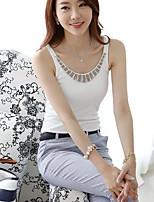 Women's Casual/Daily Simple Summer Tank Top,Solid U Neck Sleeveless Cotton Medium