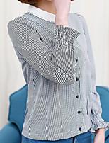 Для женщин На каждый день Рубашка Воротник-стойка,Простое Полоски Длинный рукав,Полиэстер Другое