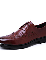 Недорогие -Муж. обувь Кожа Весна Формальная обувь Удобная обувь Туфли на шнуровке для Повседневные на открытом воздухе Черный Коричневый
