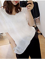 Women's Casual/Daily Simple T-shirt,Solid V Neck Short Sleeves Cotton