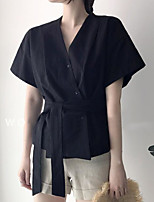 Damen Solide Einfach Lässig/Alltäglich Hemd,V-Ausschnitt Kurzarm Baumwolle Andere