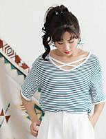 T-shirt Da donna Casual Semplice A strisce A V Cotone Manica corta