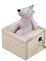 Music Box Toys Bear Resin Wood Lovely Pieces Unisex Birthday Gift