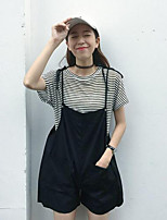 Women's Casual/Daily Simple Summer Shirt Pant Suits,Solid Cowl Short Sleeve