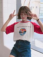 Damen Einfarbig Einfach Lässig/Alltäglich T-shirt,Rundhalsausschnitt Kurzarm Baumwolle