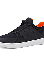 Men's Sneakers Walking Comfort PU Spring Summer Casual Lace-up Flat Heel Black/White Black Flat