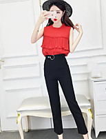 Women's Work Simple Summer T-shirt Pant Suits,Solid Round Neck Sleeveless