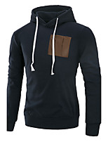 Men's Plus Size Casual/Daily Simple Hoodie Solid Hooded Micro-elastic Cotton Long Sleeve Fall Winter