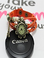 Women's Fashion Watch Bracelet Watch Quartz PU Band Black White Blue Red Orange Brown Green