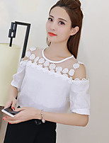 Women's Casual/Daily Simple Blouse,Solid Round Neck Short Sleeves Cotton