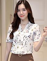 Для женщин На каждый день Блуза V-образный вырез,Простое Однотонный Цветочный принт С принтом С короткими рукавами,Хлопок