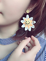 1 Pair Of Sun Flowers Sweet And Lovely Earring/Embroidery Flowers Ear Nails/Smiley Face Colored Earrings