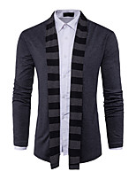 Men's Casual/Daily Simple Long Cardigan,Striped Shirt Collar Long Sleeves Cotton Spring Fall Medium Stretchy