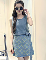 Women's Casual/Daily Simple Summer T-shirt Skirt Suits,Print Round Neck Sleeveless