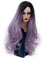 billiga -Syntetiska peruker Syntetiskt hår Peruk Lång Utan lock Himmelsblå