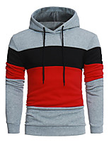 Men's Sports Casual/Daily Vintage Hoodie Color Block Hooded Micro-elastic Cotton Acrylic Long Sleeve Fall Winter
