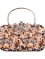 Women Bags All Seasons PU Evening Bag Rhinestone Floral for Wedding Event/Party Casual Formal Office & Career Blue Champagne White Black
