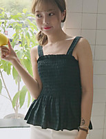 Women's Going out Sexy Shirt,Solid Striped Strap Sleeveless Cotton