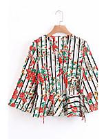 Damen Gestreift Druck Sexy Einfach Street Schick Ausgehen Lässig/Alltäglich Hemd,V-Ausschnitt Sommer Herbst Langarm Baumwolle Dünn Mittel