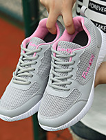 Women's Shoes Breathable Mesh Spring Fall Comfort Sneakers Flat Heel Round Toe Lace-up For Casual Gray Black