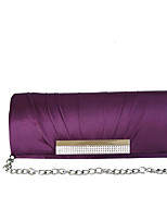 Women Bags Fall All Seasons Silk Evening Bag Rhinestone Pleated for Wedding Red Violet