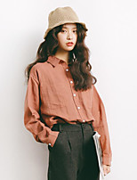 Women's Casual/Daily Simple Shirt,Solid Shirt Collar Long Sleeves Cotton Polyester