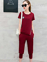 Women's Going out Cute Summer T-shirt Pant Suits,Solid Round Neck Short Sleeve