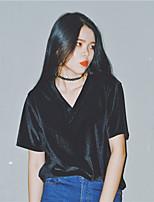 Feminino Camiseta Casual Simples Sólido Algodão Decote Redondo Manga Curta