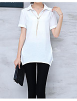 Women's Casual/Daily Simple T-shirt,Solid Stand Short Sleeves Cotton