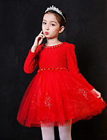 Girl's Birthday Casual/Daily Holiday Solid Floral Embroidered Dress,Cotton Polyester Fall Winter Long Sleeve