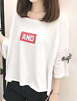 Women's Casual/Daily Simple T-shirt,Print Round Neck Half Sleeves Cotton