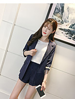 Women's Daily Soak Off Summer Hoodie Skirt Suits,Striped Round Neck Long Sleeve