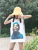 Tee-shirt Femme,Couleur Pleine Soirée Sexy Manches Courtes Col Arrondi Coton
