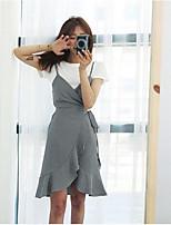 Damen Solide Einfach Ausgehen T-Shirt-Ärmel Rock Anzüge,Rundhalsausschnitt Sommer Kurzarm