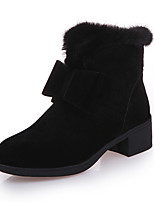 Women's Boots Comfort Fabric Winter Casual Bowknot LED Low Heel Gray Black Under 1in