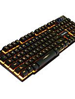 RUYINIAO V-8 Gaming Backlit Keyboard 104 Keys USB Cable Monochrome Yellow