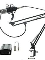 Kit de áudio bm700 microfone microfone de estúdio de gravação com filtro de janela à prova de vento braço suporte 48v phantom power