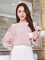 Women's Casual/Daily Sophisticated Blouse,Solid Round Neck Long Sleeves Polyester