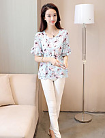 Women's Going out Simple Blouse,Print Round Neck Half Sleeves Others