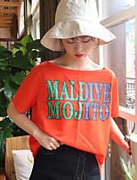 T-shirt Da donna Per uscire Moda città Monocolore Alfabetico Rotonda Altro Mezza manica