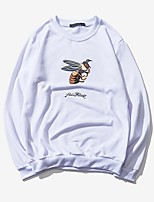 Men's Plus Size Casual Slim Round Neck Small Bee Printed Sweatshirt