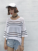 Women's Casual/Daily Simple T-shirt,Striped Round Neck Short Sleeves Cotton