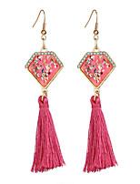 Bohemian Multicolor Tassel Hook Dangle Earrings Brincos Crystal Long Chandelier Geometric Earring for Women Girls