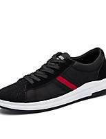 Men's Sneakers Comfort Fall Winter Leatherette Casual Lace-up Flat Heel Black/Red Black/White Flat