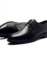 Men's Shoes Leather Spring Fall Comfort Oxfords Lace-up For Casual Office & Career Black