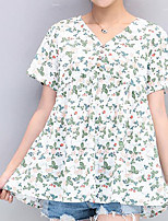Women's Casual/Daily Simple Shirt,Floral Print V Neck Short Sleeves Linen Others