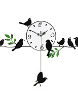 Modern Creative Bird on The Tree Metal Mute Wall Clock