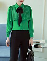 Для женщин На каждый день Блуза Вырез под горло,Простое Однотонный Длинный рукав,Полиэстер