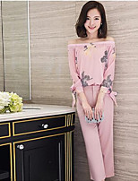 Women's Casual/Daily Simple Spring Summer T-shirt Pant Suits,Floral Boat Neck ¾ Sleeve